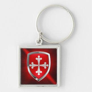 Pisa Mettalic Emblem Silver-Colored Square Key Ring