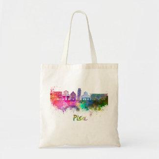 Pisa skyline in watercolor tote bag