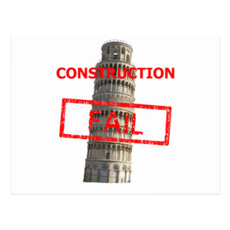 Pisa tower construction fail post cards