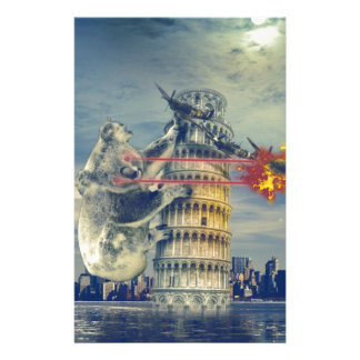 Pisa Tower Koala Bear Funny Personalized Stationery
