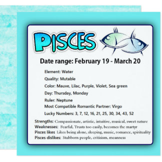 Pisces Astrological Horoscope Zodiac  Card