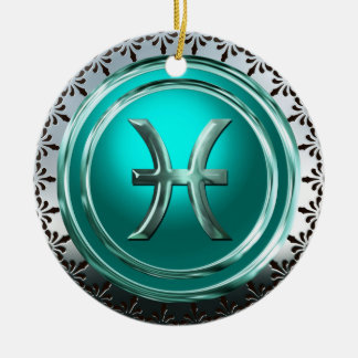 Pisces Astrological Sign Round Ceramic Decoration