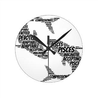 Pisces Astrology Zodiac Sign Word Cloud Wall Clock