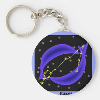 Pisces Basic Round Button Key Ring