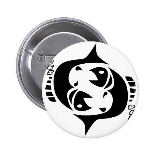 PISCES BLACK AND WHITE HOROSCOPES PRODUCTS PINBACK BUTTON