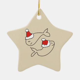 Pisces Christmas Funny Red Star Cute Astrology Ceramic Ornament