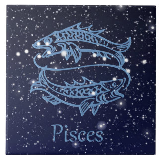 Pisces Constellation and Zodiac Sign with Stars Large Square Tile