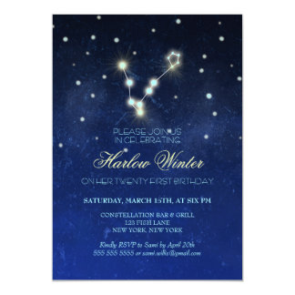 Pisces Constellation Birthday Party Card