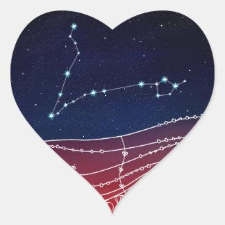 Pisces Constellation Design Heart Sticker