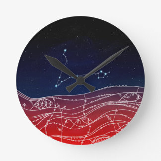 Pisces Constellation Design Round Clock