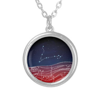 Pisces Constellation Design Silver Plated Necklace