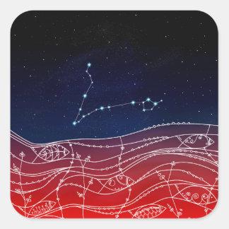 Pisces Constellation Design Square Sticker