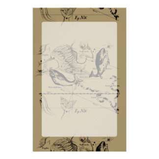Pisces Constellation Hevelius 1690 on Taupe Customised Stationery