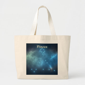 Pisces costellation large tote bag