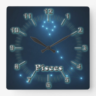 Pisces costellation square wall clock
