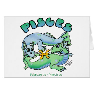pisces cute zodiac baby dragon card