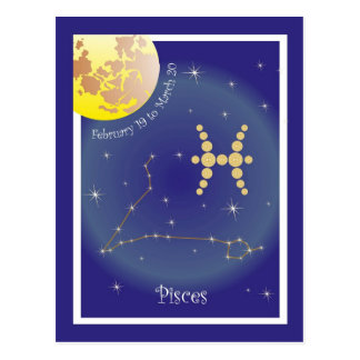 Pisces February 19 tons of March 20 postcard