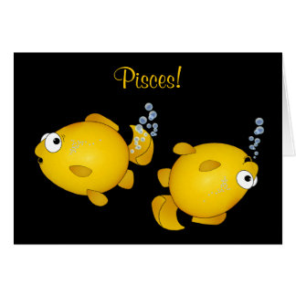 Pisces fish happy birthday cartoon card