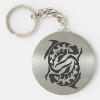 Pisces Fish Silhouette with Metallic Effect Key Ring