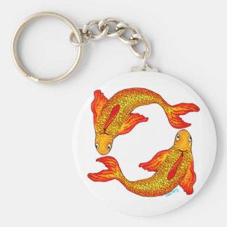 Pisces Fish Zodiac Sign Key Ring Basic Round Button Key Ring