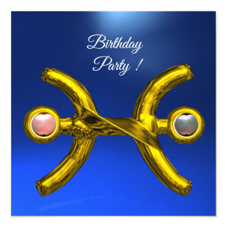 PISCES Gold Aqua Blue Zodiac Birthday Party Card
