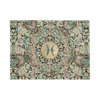 Pisces Gold Lace Mandala Doormat