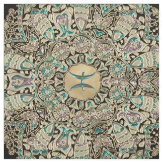 Pisces Gold Lace Mandala Fabric