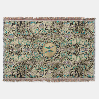 Pisces Gold Lace Mandala Throw Blanket