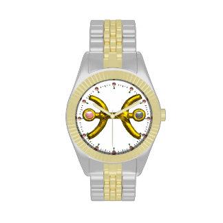 PISCES GOLD ZODIAC BIRTHDAY JEWEL,White Wrist Watch