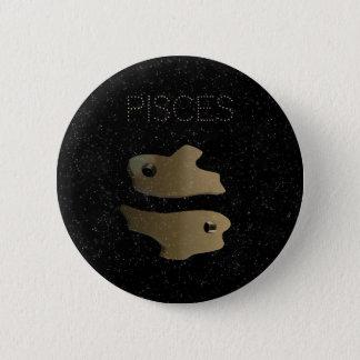 Pisces golden sign 6 cm round badge