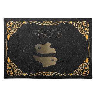 Pisces golden sign placemat