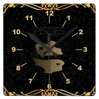 Pisces golden sign wall clock
