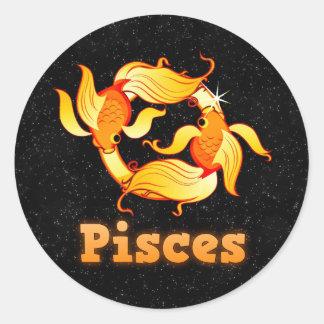 Pisces illustration classic round sticker