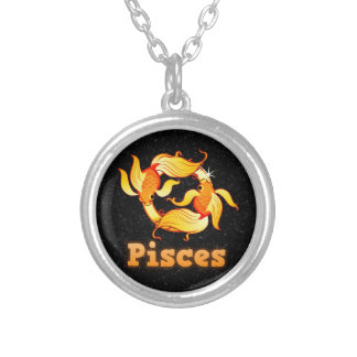 Pisces illustration silver plated necklace