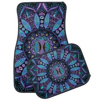 Pisces Mandala in Turquoise and Purple Car Mat