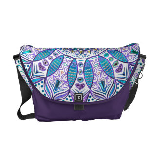 Pisces Mandala in Turquoise and Purple Messenger Bag