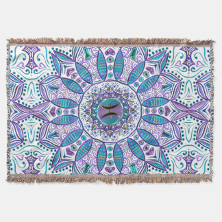 Pisces Mandala in Turquoise and Purple Throw Blanket