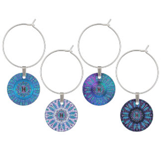 Pisces Mandala in Turquoise and Purple Wine Charm