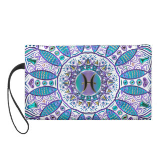 Pisces Mandala in Turquoise and Purple Wristlet