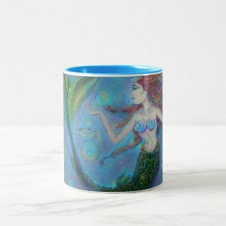 Pisces Mermaid Blue 15oz Two-Tone Coffee Mug