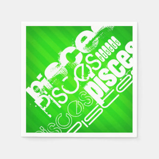 Pisces; Neon Green Stripes Paper Serviettes
