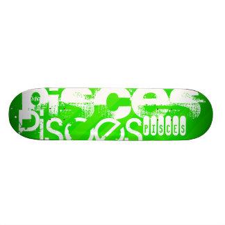 Pisces; Neon Green Stripes Skateboard