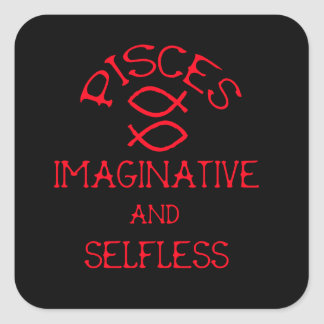 Pisces (Red Text) Square Sticker