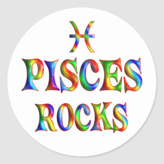 Pisces Rocks Classic Round Sticker