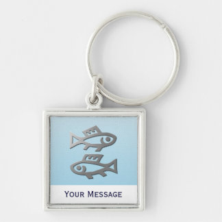 Pisces Silver Fish Hand Baggage Tag Keyring Key Chains