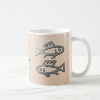 Pisces Star Sign Silver Fish on Salmon Tea Coffee Mug