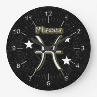 Pisces symbol large clock
