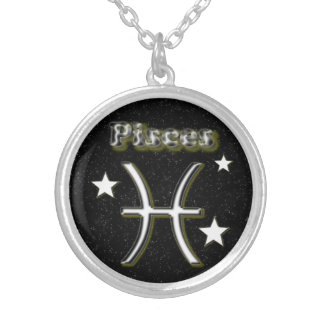 Pisces symbol silver plated necklace