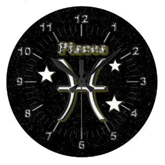 Pisces symbol wall clocks