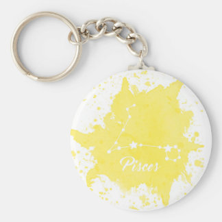 Pisces Yellow Keychain